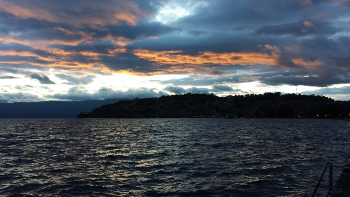 lake ohrid night stormy