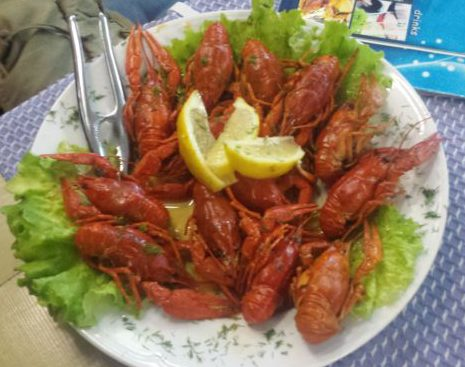 Delicious crayfish on the Black Sea
