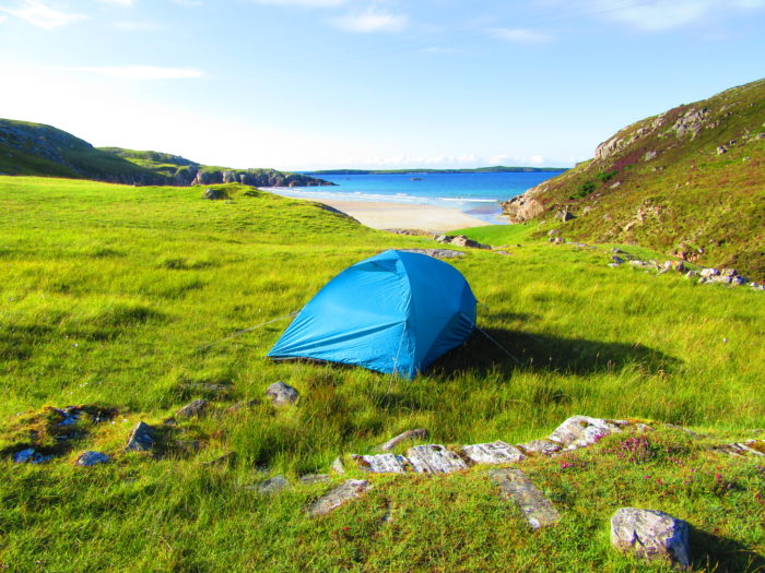 Pitching a tent on our alternative North Coast 500 itinerary
