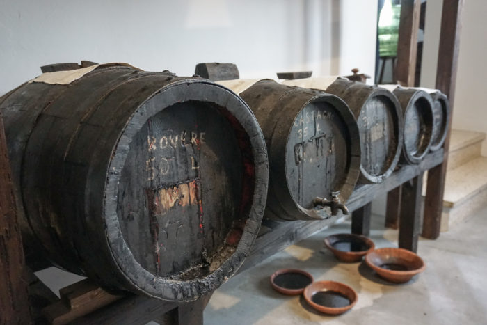 Barrels storing balsamic vinegar