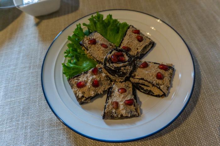 Eggplant with walnut paste from Palaty