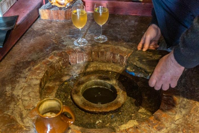 Wine straight from the qvevri from Mari's Wine Cellar