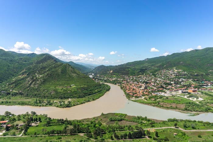 The town of Mtskheta is surrounded by mountains