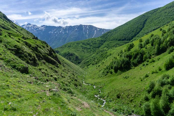 Spectacular views of the valley in Kazbegi