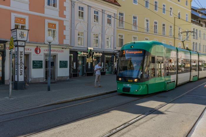 Tram is a great way to get around when visiting Graz