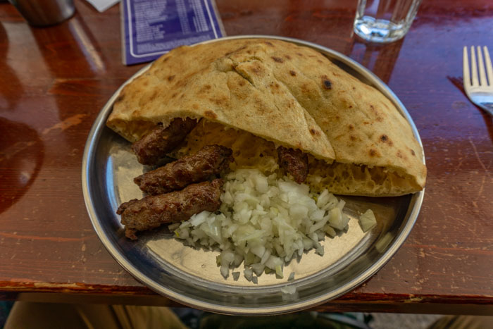 Traditional Bosnian lunch of cevapi