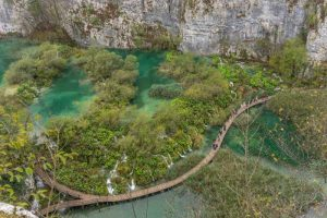 Iconic View of Plitvice Lakes from above