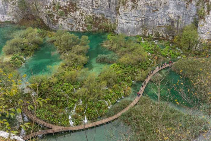 Plitvice Lakes is the first stop on a Zagreb to Dubrovnik drive