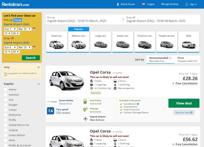 Rentalcars.com Review Screenshot