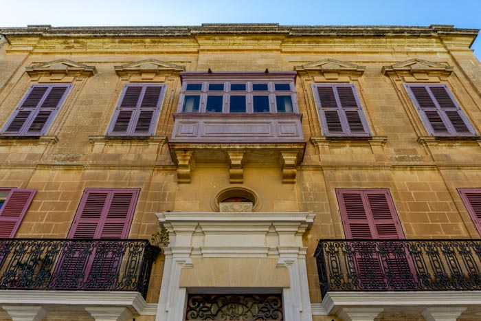 Traditional Pink Balconies in Mdina, Malta