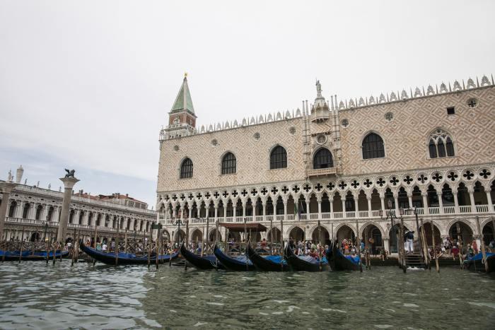 Gondolas parked near Doge's Palace