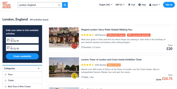 GetYourGuide Review: Search Landing Page