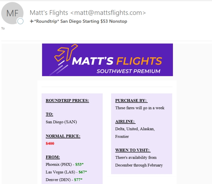 Review of Matt's Flights Deals