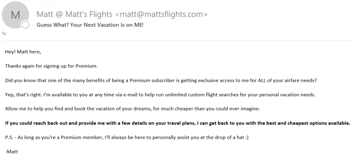 Matt's Flight Review of Premium Plan