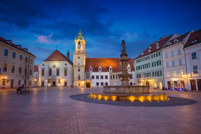 The Main Square is a must see on your Bratislava day trip from Vienna