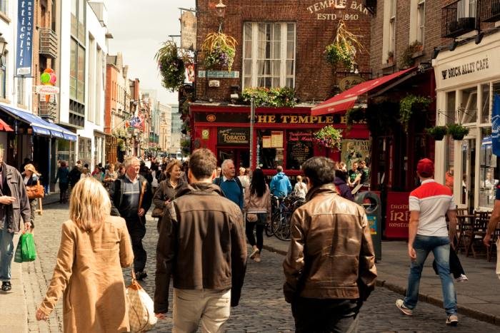 If you're deciding between Dublin or Belfast, visiting Temple Bar might be a swaying factor