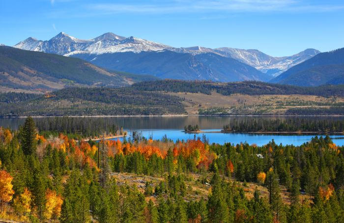 Dillon Reservoir is a great place to stop between Denver and Vail