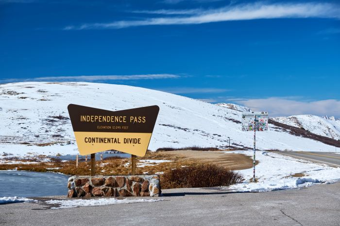 Independence Pass is an alternative route on the Denver to Aspen drive