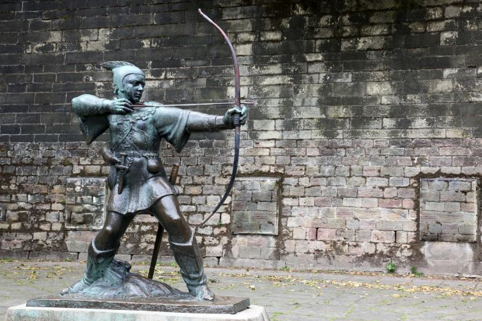 Statue Of Robin Hood at Nottingham Castle,