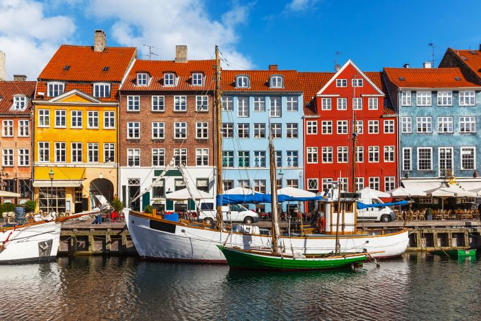Colourful buildings on Copenhagen's harbour