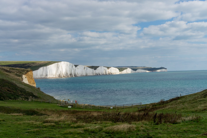 First view of the Seven Sisters Cliffs