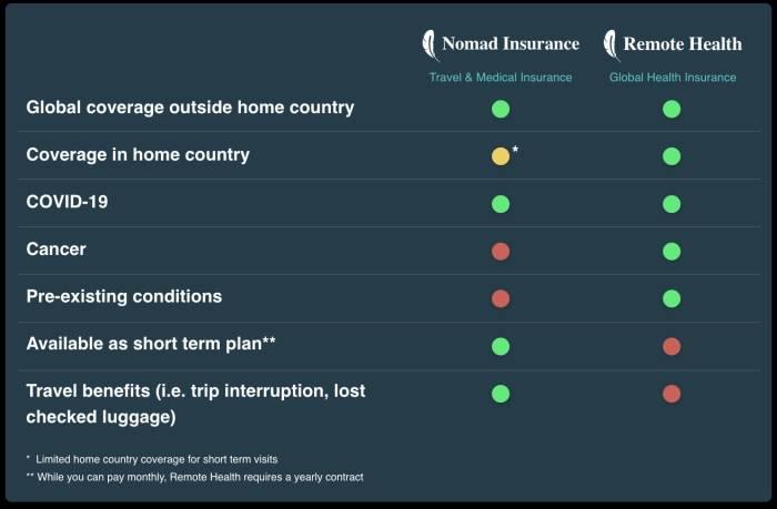 Safetywing Nomad Insurance vs Remote Health Comparison