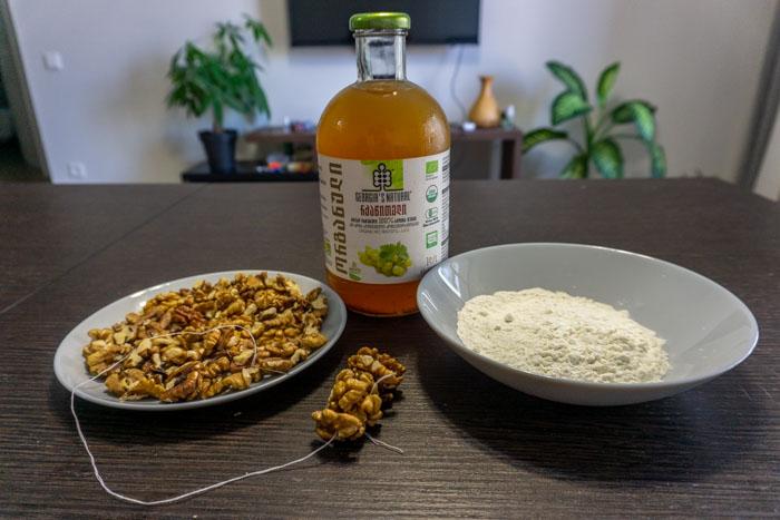 The ingredients of this churchkhela recipe