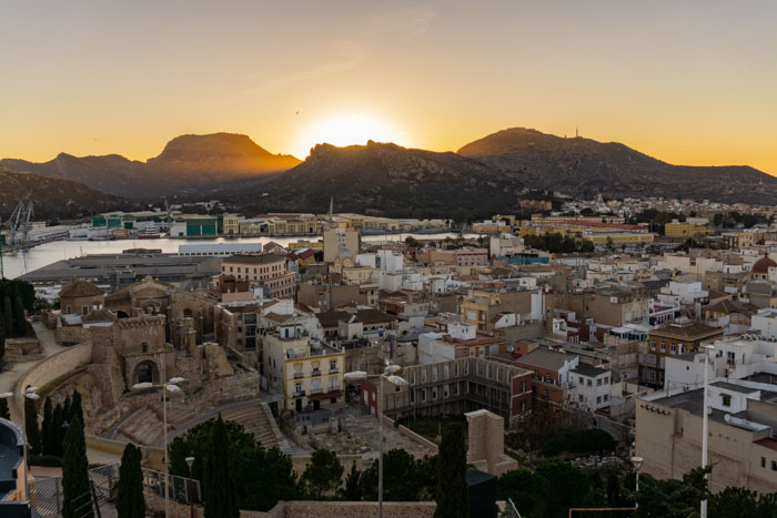 The sunset over Cartagena, Spain