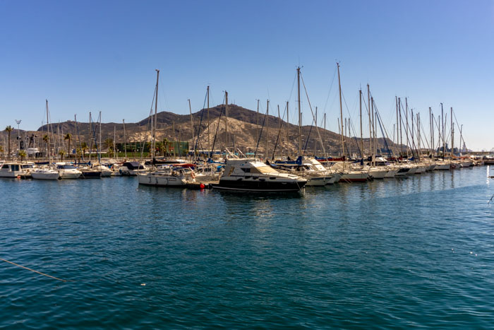 Boats lined up on the lovely Cartagena coast