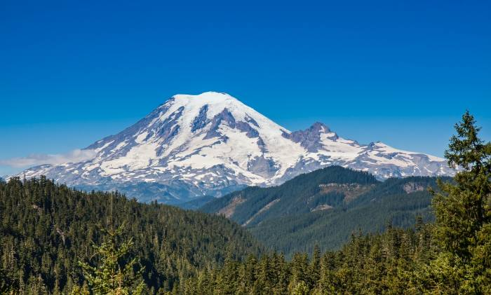 Mount Rainier is a great place to spend the night when driving from Seattle to Portland
