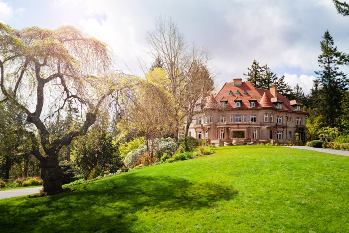 Lawn and building of Pittock Mansion