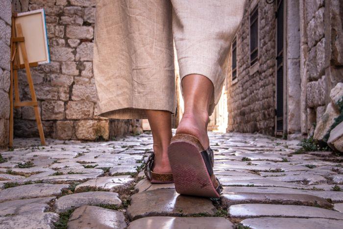 Walking Sandals on European streets