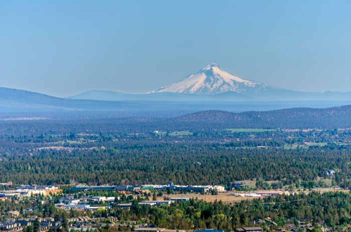 City of Bend with Mt Hood in the background
