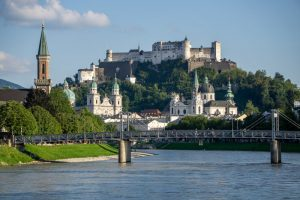 Beautiful views of Salzburg from the River Salzach