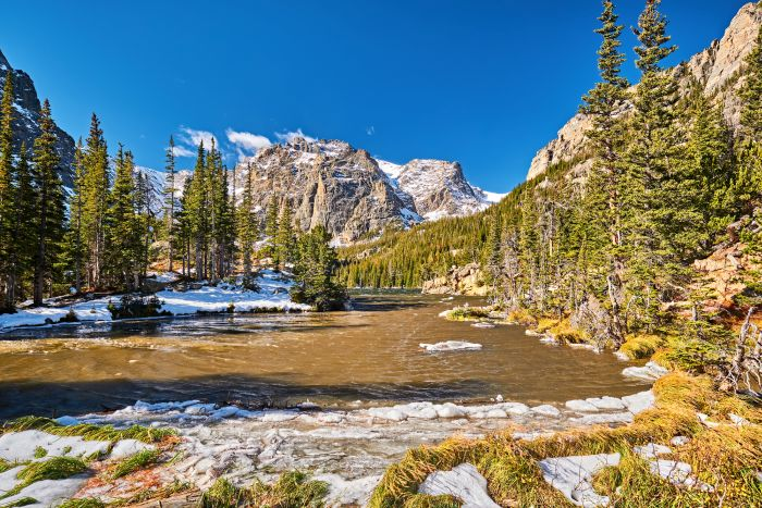 The Loch Lake in the Rocky Mountain National Park in Colorado