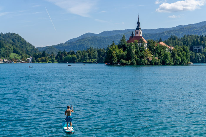 Paddleboarding on Lake Bled