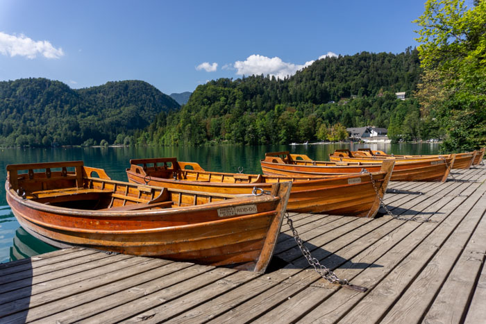 Row boats on Lake Bled